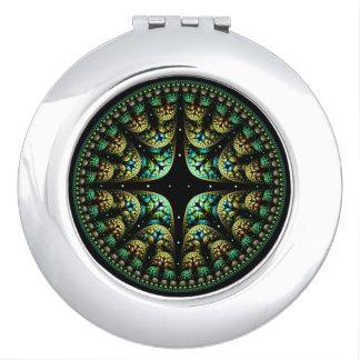 Miroirs Compacts Or élégant de mandala chic et art vert de fractale
