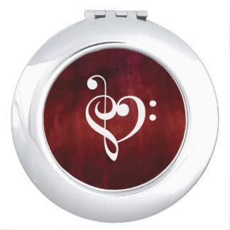 Miroirs De Maquillage Conception rouge de coeur de musique