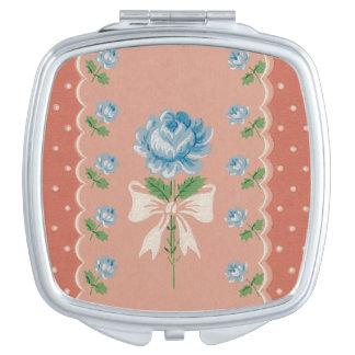 Miroirs De Maquillage Le corail bleu vintage de roses pointille le motif