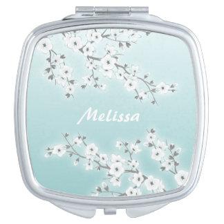 Miroirs De Maquillage Les fleurs de cerisier florales monnayent le blanc