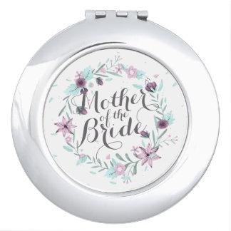 Miroirs De Maquillage Mère du miroir floral de contrat de mariage de