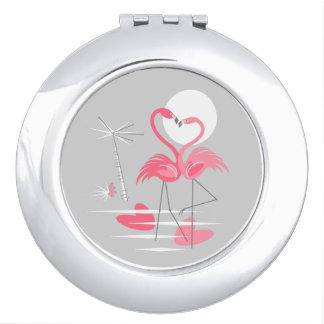 Miroirs De Maquillage Miroir de contrat d'amour de flamant rond