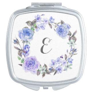 Miroirs De Maquillage Monogramme floral de l'aquarelle pourpre en pastel