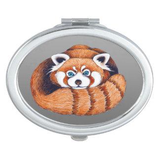 Miroirs De Maquillage Petit panda rouge sur le gris
