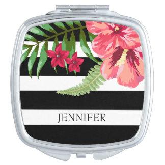 Miroirs De Maquillage Rayures noires et blanches avec les fleurs