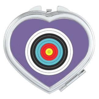 Miroirs De Poche Cible de tir à l'arc de sports sur le coeur
