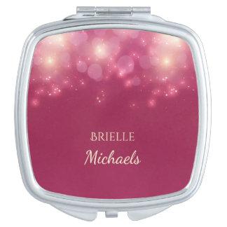Miroirs De Poche Le charme rose foncé Luxe Bokeh miroite avec le