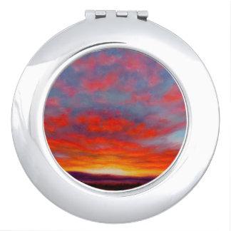 Miroirs De Poche Lever de soleil dans les montagnes du miroir