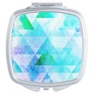 Miroirs De Poche Motif géométrique d'aquarelle bleue