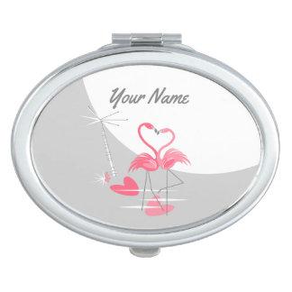 Miroirs De Poche Ovale de miroir de contrat de nom de lune d'amour
