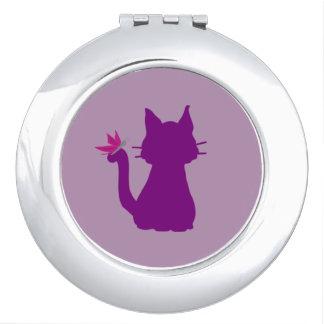 Miroirs De Poche Papillon pourpre de rose de silhouette de chat