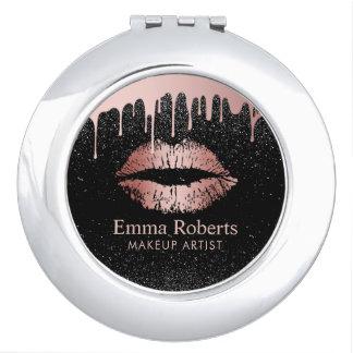 Miroirs De Poche Salon de beauté rose de lèvres d'or d'égoutture de