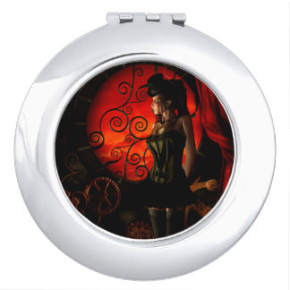 Miroirs De Poche Steampunk, dame merveilleuse de steampunk pendant