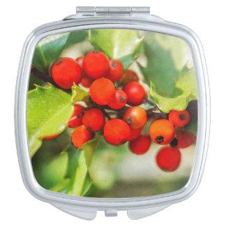 Miroirs De Voyage Aquarelle rouge et verte colorée de houx de Noël