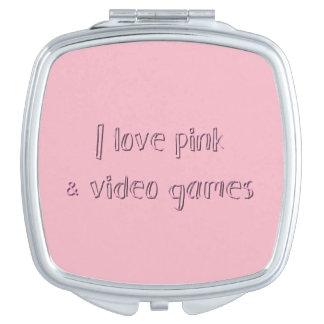 Miroirs De Voyage J'aime le contrat de miroir de rose et de jeux