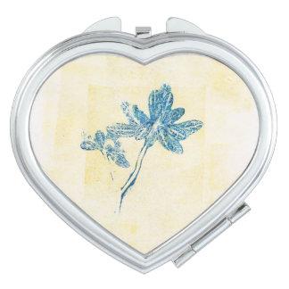 Miroirs De Voyage Le bleu floral laisse à Monoprint le miroir