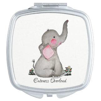 Miroirs De Voyage L'éléphant mignon de bébé d'aquarelle avec