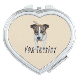 Miroirs De Voyage Logo de Fox Terrier et de Fox Terrier, coeur