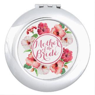 Miroirs De Voyage Mère du miroir floral de contrat de mariage de