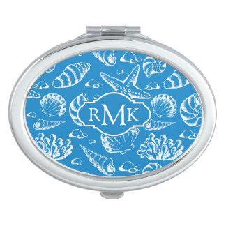 Miroirs De Voyage Monogramme bleu du motif | de plage