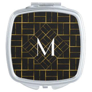 Miroirs De Voyage Monogramme géométrique élégant de motif d'art déco