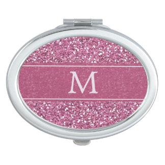 Miroirs De Voyage Monogramme rose de parties scintillantes de Faux