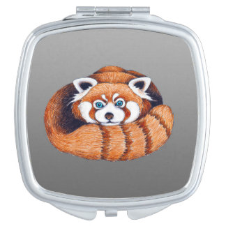 Miroirs De Voyage Petit panda rouge sur le gris