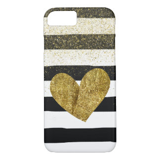 Miroitement de scintillement de coeur d'or de coque iPhone 7