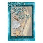 Miroiter l'invitation turquoise de Rsvp de plage d