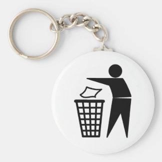 Mis lui dans la poubelle porte-clé rond