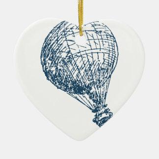Miscellaneous - Blue Vintage: Balloon-Flying Ornement Cœur En Céramique