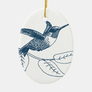 Miscellaneous - Blue Vintage: Colibri Ornement Ovale En Céramique