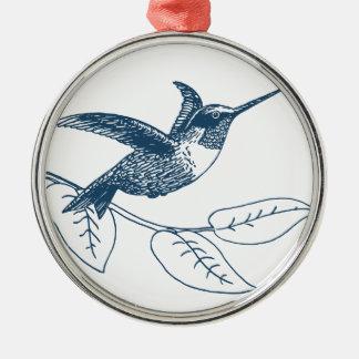 Miscellaneous - Blue Vintage: Colibri Ornement Rond Argenté