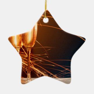 Miscellaneous - Golden Champagne Cups Pattern Five Ornement Étoile En Céramique