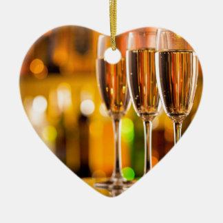 Miscellaneous - Golden Champagne Cups Patterns Two Ornement Cœur En Céramique