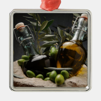 Miscellaneous - Oil & Olives Patterns One Ornement Carré Argenté