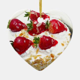 Miscellaneous - Strawberry With Cream Six Ornement Cœur En Céramique
