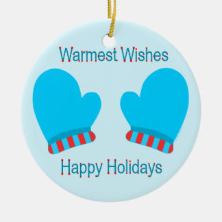 Mitaines bleues de vacances (souhaits chauds de va décoration de noël