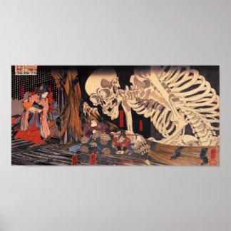 Mitsukuni défiant le spectre squelettique poster