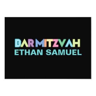 Mitzvah au néon de barre de PixDezines Carton D'invitation 12,7 Cm X 17,78 Cm