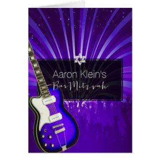 Mitzvah pourpre de guitare/photo/barre de carte de vœux