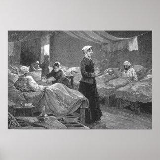 Mlle Nightingale dans l'hôpital de caserne Posters