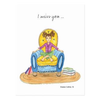 Mlle vous fille en carte postale bleue de chaise
