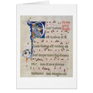"""Mme 561 page avec """"P"""" initial historiated Carte De Vœux"""