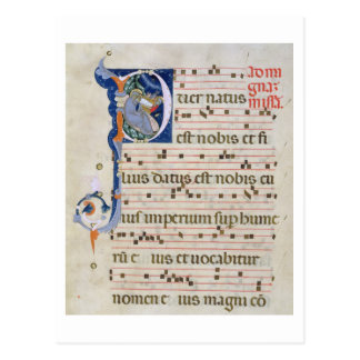 """Mme 561 page avec """"P"""" initial historiated Carte Postale"""