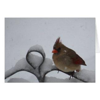Mme Cardinal Notecard - masquez à l'intérieur Cartes De Vœux