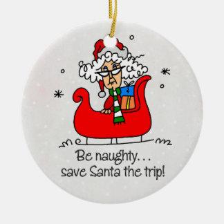 Mme drôle Claus Christmas Ornament Ornement Rond En Céramique