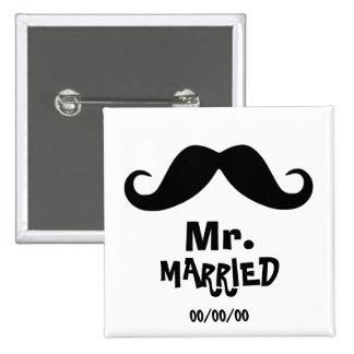 Mme et M., l'épouse nouvellement, juste marié, ont Badge Carré 5 Cm