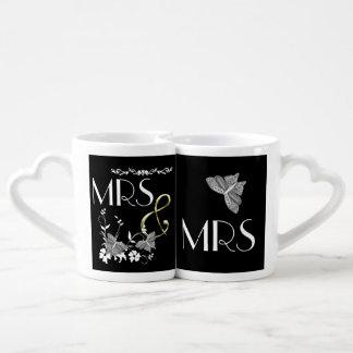 Mme et Mme Butterflies et fleurs Set Tasses Duo