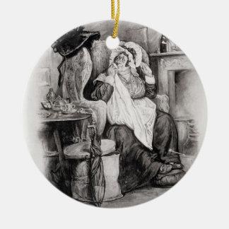 Mme Gamp, de 'Charles Dickens : Un bavardage au Ornement Rond En Céramique